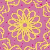 Yellow flower and yellow hand drawn ornaments on a pastel pink background vector illustration