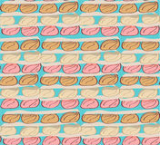 Seamless pattern pastel color bun bread. Seamless pattern of stack bake of bun bread in pastel style doodle Royalty Free Stock Photos