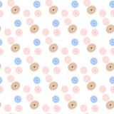 Seamless pattern of pastel colored buttons on white Royalty Free Stock Image