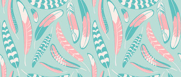 Seamless pattern with pastel feathers. Royalty Free Stock Photo