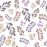 Seamless pattern with pastel hand drawn branches vector illustration
