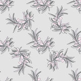 Seamless pattern with pastel olive branch Stock Photo