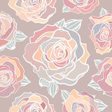 Seamless pattern of pastel roses Royalty Free Stock Photo