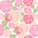 Seamless Pattern with Pastel Roses Royalty Free Stock Image