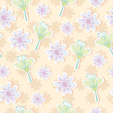 Seamless pattern of pastel tone flowers Royalty Free Stock Photo
