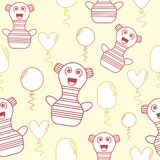 Seamless pattern with pastel yellow,orange and pink cute doodle characters and balloons royalty free illustration