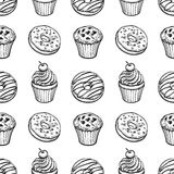 Seamless pattern with pastry sweets. Seamless pattern with donuts, muffins and cupcakes. Hand drawn vector illustration Stock Photography
