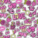 Seamless pattern with patch badges, doodle stickers, pins, in cartoon 80s-90s comic style. royalty free illustration