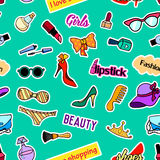 Seamless pattern with patch badges. Pop art. Vector background stickers, pins, patches in cartoon 80s-90s comic style. Seamless pattern with fashion patch badges Stock Images