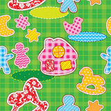 Seamless pattern with patch silhouettes -  fabric texture. Stock Photo