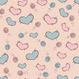 Seamless pattern with patches of hearts Stock Photo