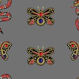 Seamless pattern with patches with sequins and beads. Seamless pattern with patches with sequins Stock Photos