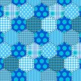 Seamless pattern patchwork blue fabrics hexagon Stock Photos