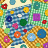 Seamless pattern of patchwork and buttons Stock Photos