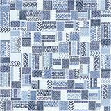 Seamless pattern of patchwork. Elegant blue ornament. Tribal and. Ethnic motifs. Blue geometric elements on a white background. Vector illustration drawn by Stock Photo