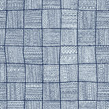 Seamless pattern of patchwork. Elegant blue ornament. Tribal and Royalty Free Stock Photos