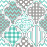Seamless pattern. Patchwork. Seamless patchwork geometrical pattern with polka dots and damask ornament royalty free illustration