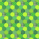 Seamless pattern patchwork green fabrics hexagon Stock Photos