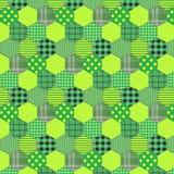 Seamless pattern patchwork green fabrics hexagon Stock Photos