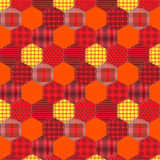 Seamless pattern patchwork orange fabrics hexagon Royalty Free Stock Photo
