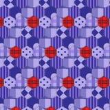 Seamless pattern patchwork purple fabrics hexagon Stock Image