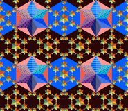 Seamless pattern with patchwork stars. Royalty Free Stock Images