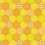 Seamless pattern patchwork yellow fabrics hexagon Stock Photography