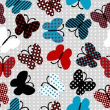 Seamless pattern with patterned butterflies Stock Photos