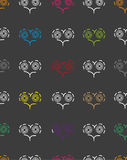 Seamless pattern with patterns of multicolored hearts. On a dark grey background Vector Illustration