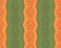 Seamless pattern with paw and claws. Made in a decorative manner and boho style of orange-green colors Royalty Free Stock Photos