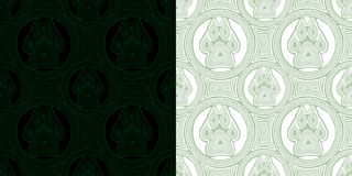 Seamless pattern with paw and claws. Made in decorative style and boho style in black-green and white-green colors Royalty Free Stock Photography