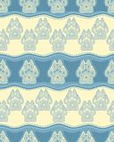 Seamless pattern with paw and claws. Made in a decorative manner and boho style of light blue colors Stock Image