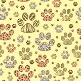 Seamless pattern with paws Stock Photography