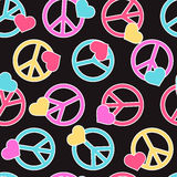 Seamless pattern with peace signs, hearts. Stock Image