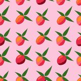 Seamless pattern of peaches on a pink background. stock illustration