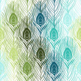 Seamless pattern with peacock feathers. Hand-drawn  backgr Stock Images