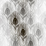 Seamless pattern with peacock feathers. Hand-drawn monochrome ve Stock Photo