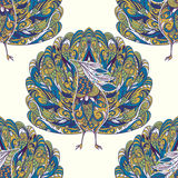 Seamless pattern with peacock. Vintage fantasy bird with floral ornament. Royalty Free Stock Image