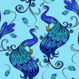 Seamless pattern of peacocks Stock Photo