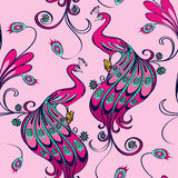 Seamless pattern of peacocks Royalty Free Stock Images