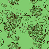 Seamless pattern with peacocks and flowers Stock Photos