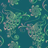 Seamless pattern of peacocks Stock Images