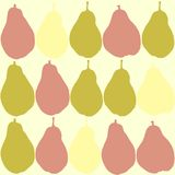Seamless pattern with pear silhouettes. A combination of pink, green and yellow. Vector illustration stock illustration