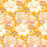 Seamless pattern of pearl color yellow rose. Stock Photos
