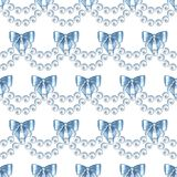 Seamless pattern with pearls and bows 2 Royalty Free Stock Image
