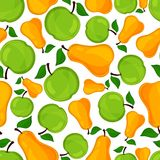 Seamless pattern of pears and apple. Royalty Free Stock Images