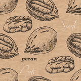 Seamless pattern with pecan on a vintage background Stock Image