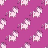 Seamless pattern with pegasus in kawaii japanese style isolated on pink background. Can use for birthday card, the childrens menu, packaging, textiles, fabrics Stock Images