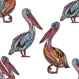 Seamless pattern with pelicans. Seamless pattern with pelicans on white background. Vector illustration Royalty Free Stock Photo