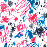 Seamless pattern with pencil drawn doodles Stock Photos